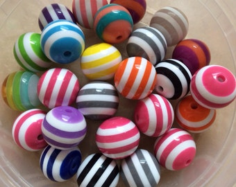 16 inch Strand ( 24 pcs ) 20 mm Mixed Striped Gumball Beads, mixed 20 mm striped  Bead, 20 mm Acrylic Bead, BubbleGum  Bead, chunky necklace