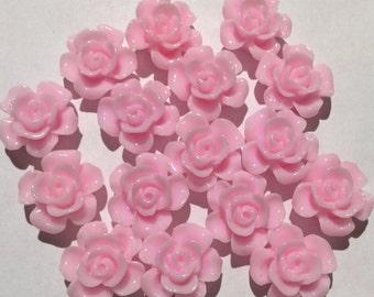 10 pcs 15 mm Light Pink Cabochon,Light pink resin flower,Light Pink rose,15 mm rose cabochon flower,15 mm baby pink cabochon,flower kit