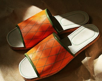 Orange Leather and cork wedge slides