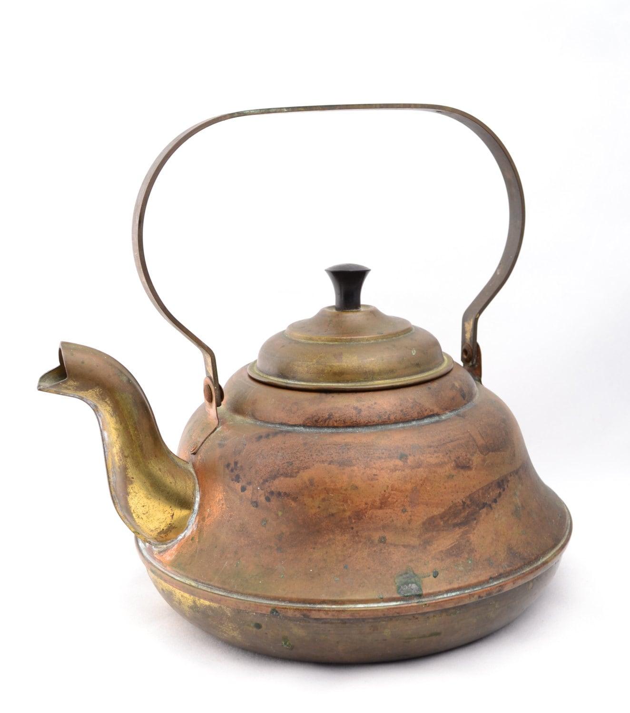 Vintage Copper Tea Kettle Teapot Rustic Kitchen Decor