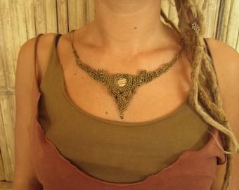 sweet little gipsy fossil makramee bohemian jewelry necklace