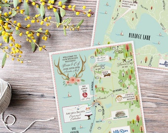 Custom Wedding MAP- Any Location- Arcadia, Michigan Map Pictured- Custom Illustrated Wedding Map- Custom Map for Out of Town Bags- Map