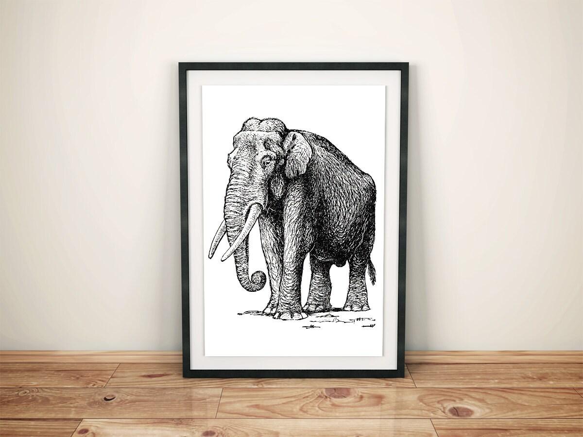 Elephant Clip Art. Vintage Graphic Elephant Print Instant