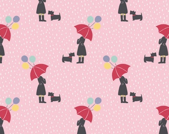 Lewis & Irene April Showers Patchwork Quilting Fabric - A72.3 April Showers on Pink
