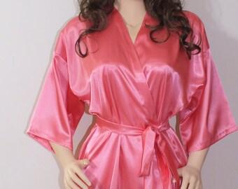 Coral robe,Bridal party robes, Plus size robe, kimono robe, bridesmaid robe,wedding robe,lounging robe