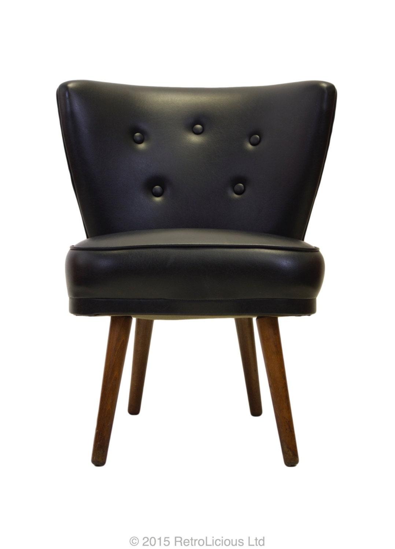 Retro Original G Plan Black Vinyl Cocktail Chair Mid