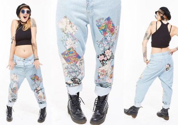 Vtg 80s 90s FADED Washed Denim Jeans PATCHWORK Novelty Worn In Baggy Boyfriend ooak Boho Club Kid Grunge Hip Hop Kitsch Fringe appliqués