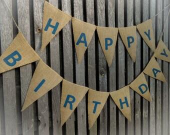 Happy 1st Birthday Banner Birthday Bunting Party Banner First Birthday Banner Birthday Decorations Birthday Burlap Banner 1st Birthday Boy