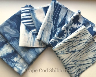 Shibori Indigo Fabric Scrap Bundle, Gift For Quilter
