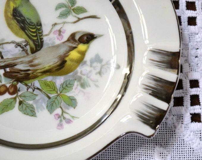 Vintage Ashtray Birds Green Yellow Silver Ceramic PanchosPorch