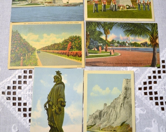 Vintage Postcard Set of 6 Canada Florida Various Travel Souvenirs PanchosPorch