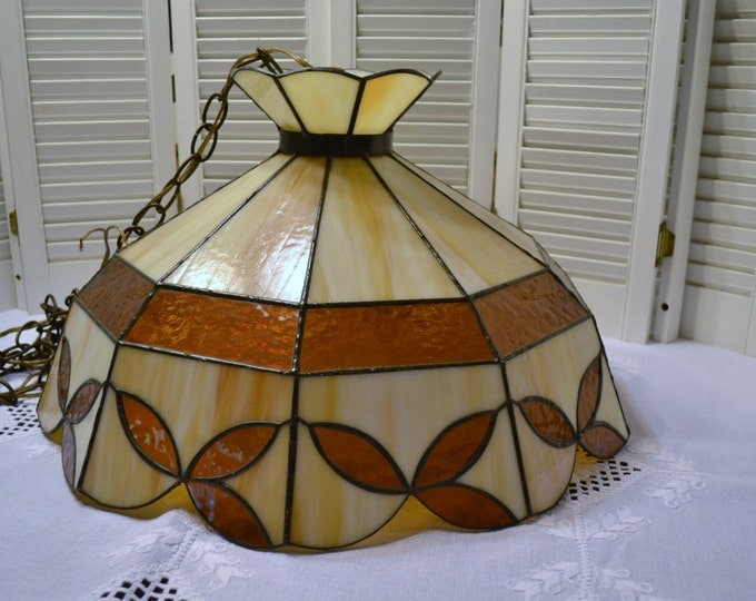 Vintage Slag Glass Swag Lamp Beige Brown Caramel Stained Leaded Glass Hanging Chandelier PanchosPorch
