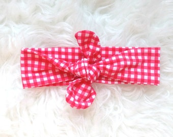 Red Gingham Headband, Gingham Knot Headband, Turban, Knot Head Wrap,Turban Headband, Infant Headband, Toddler Headband, Adult Headband