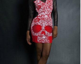 Red Long Sleeve Mesh Skull Dress