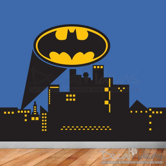 Items similar to superhero city skyline wall decal for Batman wall mural