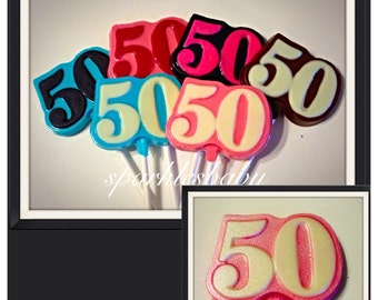 Number 50 Chocolate Lollipops, 50th Chocolate lollipop favors