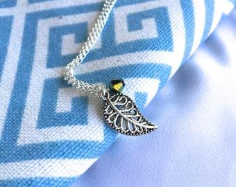 Silver Leaf Charm Necklace (Short)