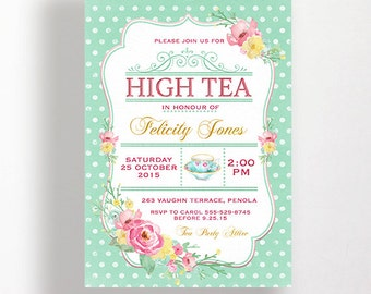 High Tea Invitation Printable for Bridal Shower Tea Or 30th 40th 50th 60th 70th Birthday Shabby Aqua Spots Dots Flowers Pastel Watercolour
