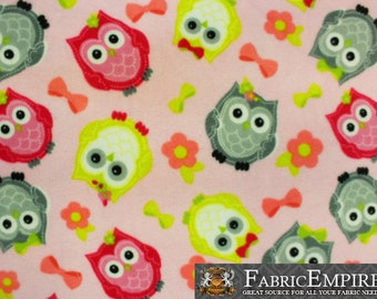 "Fleece Printed Fabric JOLLY OWLS PINK / 58"" Wide / Sold by the yard"