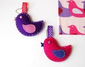 Little Birdie - Pure wool felt zipper pull, zipper charm, bag charm, school bag, keyring, key chain, Australia