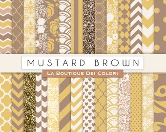 Mustard Yellow and Brown Digital Paper. Yellow and brown paper patterns, Download for Commercial Use. Chevron, floral, damask.