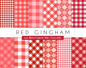 Red Gingham Table Cloth Digital Paper. Instant Download for Personal / Commercial Use. Checkered, checked, plaid backgrounds