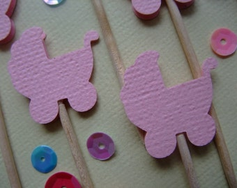 It's a Girl, Party Toothpicks Baby Girl Pram,  Food Pick, Cupcake Topper, Party Decoration, Baby Shower Party, (Set of 36)