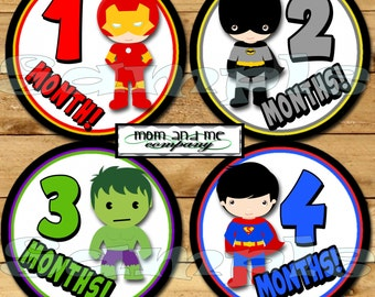 Baby Monthly Stickers SuperHero Month Stickers Monthly Bodysuit Stickers Boy Comic Monthly Milestone Stickers Baby Gift Baby Month heroes