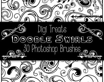 20% OFF Doodle Swirls Photoshop Brush Set (30 large brushes) High Quality ~ Instant Download.