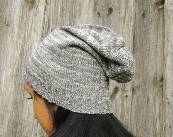 gray  winter  Hat, gray white multicolor slouchy hat, gray beanie, hat, Slouch Beanies, Womens Hat - slouchy hat ,winter hat, woman hat