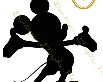 Silhouette Mickey Mouse black
