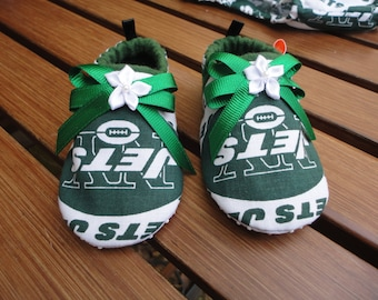 New York Jets Tailgating Booties Baby Girl Jets Tailgating Boutique Soft Sole Shoes New York Jets Baby Girl  Booties Free Shipping U.S. Only