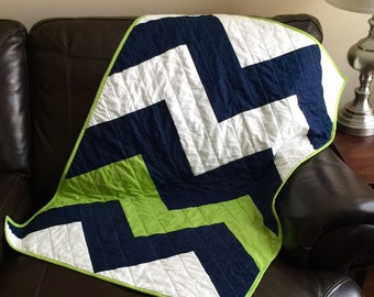 Crib Bedding Baby Blanket Quilt Chevron Zig Zag  - Navy Blue and Lime Green chevron