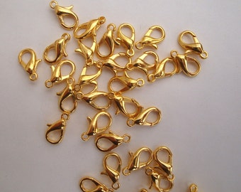 Gold plated 12mm lobster clasps x20 parrot trigger claw clasp