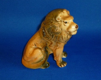 Small Lion Figurine Caramel and Brown Color