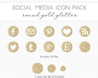 Social Media Icon Set, Gold Glitter Circle