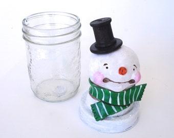 SALE Winter Snowman CANDY jar with GREEN Scarf Christmas Decoration Polymer Clay Folk Art