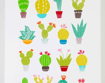 Cactus succulent print, illustration drawing A3 size by MaggieMagoo Designs