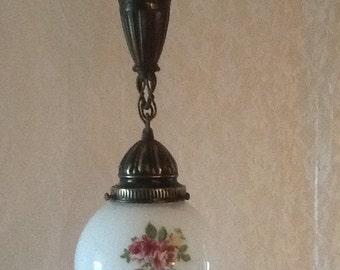 Vintage Antique Pendant Light Roman Urn Chain Hand Painted Round Globe Victorian
