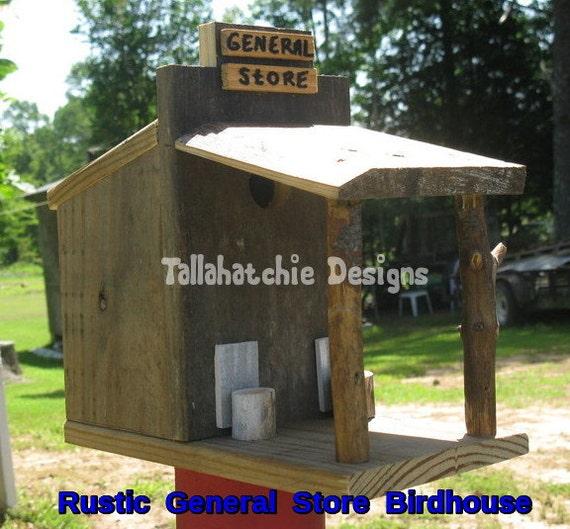 Rustic general store birdhouse rustic birdhouse primitive for Primitive house plans