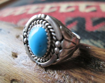 Native American Turquoise and Sterling Man's Ring Size 10.25