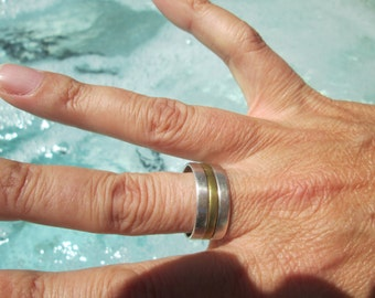 Vintage Sterling Silver and Brass Ring Size 9...