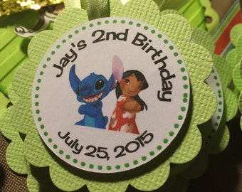 12 Personalized Lilo and Stitch Birthday Party Tags, Lilo and Stitch Party Favor Tags, Candy Jar Tags, Candy Bag Tags