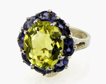 Natural Lemon Citrine & Iolite Ring 925 SS Sterling Silver