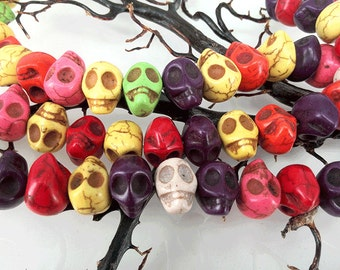 Full Strand 39pcs 14x13mm Dyed Howlite Multi Colored Sugar Skull Beads Mixed Color Skull Beads,