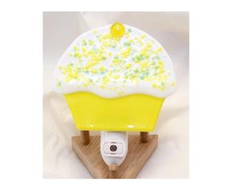 Handmade Fused Glass Cupcake Nightlight - Fused Glass Cupcake - Cupcake Nightlight - Yellow & Green Cupcake