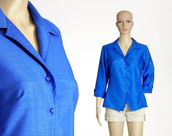 royal blue blouse 80s 1980s vintage made in USA indigo cobalt blue shirt button up dress blouse size womens MEDIUM