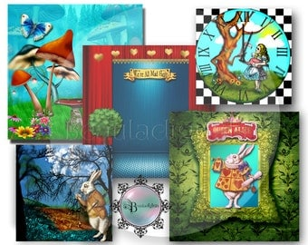 Alice In Wonderland Themed Backdrop Papers - Digital instant download