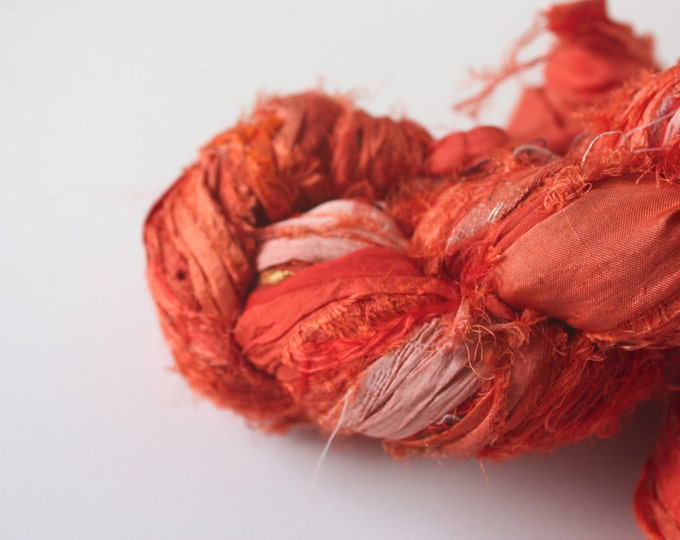 25% OFF SALE***Recycled Sari Silk Ribbon - Marigold