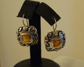 Sterling Silver & Amber Leverback Earrings